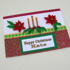 Quilled Card Christmas Poinsettia Candle by EnchantedQuilling, $7.25