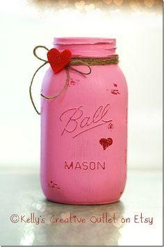 Valentine Mason Jars #christmascandlesjars