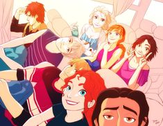 """I just love the idea of these peeps hanging out, going on a trip or something. The reason why I put Merida in between Kristoff and Flynn is that I think she's """"one of the boys"""". And Hiccup? Well he..."""