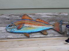 Redfish wood redfish hand painted fish by HappyHomeDesignArt