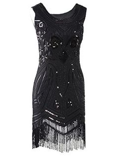Vikoros Women's Cocktail Dress Vikoros Women's 1920's Vintage Gatsby Bead Sequin Art Nouveau Deco Flapper DressMaterial :Polyester , Pls noted Necklace Not CameEvening,party,wedding cocktail dress ,Vintage 1920s style gatsby costume dressBoth front and back are decorated with sequined paisley pattern, Metallic cable chain necklineCocktail/party/event/christmas/dance dress ,Vintage 1920s style gatsby costume dress,Latin dress;tango dress,rhythm dres,rumba dress, c