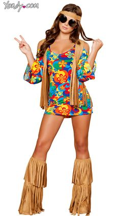 Plus Size Hippie Hottie Costume, Plus Size Hippie Costume, Womens Plus Hippy Costume