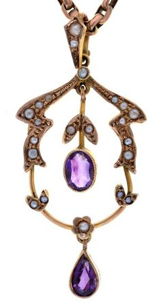 AN ART NOUVEAU AMETHYST, SPLIT PEARL AND GOLD OPENWORK PENDANT, UNMARKED AND A CONTEMPORARY EARLY 20TH C GOLD NECKLET, 9.6G  Sold @ Mellors & Kirk