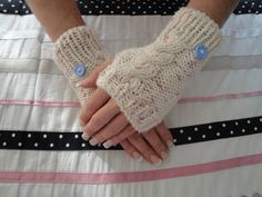 Cable Fingerless Gloves Knitting Pattern Gloves With Cable And Button  Knitting Pattern