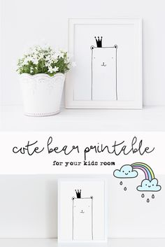A super-cute bear wall art printable for your nursery or kids room! Monochrome art is very versatile and suit many styles and spaces. Download, print and frame! This is a very affordable and easy way of decorating! Enjoy!