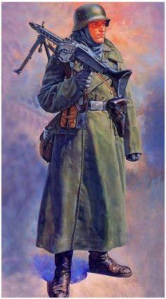 .tysk soldat i med sin MG42 i Rusland felttog
