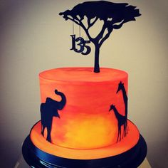 African Silhouette Cake - Cake by S K Cakes Jungle Theme Cakes, Safari Cakes, Beautiful Cakes, Amazing Cakes, Africa Cake, Gateau Harry Potter, Silhouette Cake, Lion King Birthday, Lion King Cakes