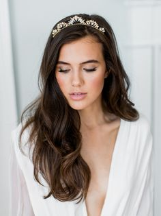 LIA crystal pearl tiara bridal comb, glamorous delicate art deco wedding crown, glam vintage scalloped boho headpiece is part of Amazing wedding makeup - ivory All of my Wedding Makeup Tips, Natural Wedding Makeup, Bride Makeup, Wedding Hair And Makeup, Hair Makeup, Natural Makeup, Bridal Makeup Natural Brunette, Wedding Nails, Natural Bridal Hair