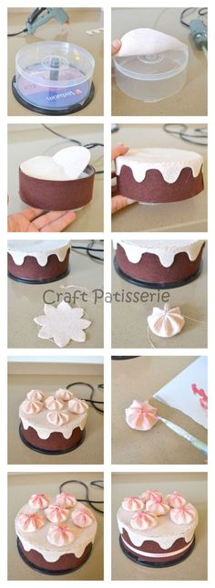 How to turn a CD case into a play cake for the kids play kitchen or play bakery., to turn a CD case into a play cake for the kids play kitchen or play bakery. Recycling at it's finest! Kids Crafts, Felt Crafts, Diy And Crafts, Simple Crafts, Clay Crafts, Fabric Crafts, Sewing Crafts, Birthday Cake Gift, Birthday Box