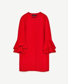ZARA - WOMAN - FRILLED SLEEVE COAT.  Round neck coat with long sleeves and frilled cuffs detail. Front zip placket fastening.