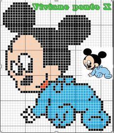 Mickey Mouse x-stitch Xmas Cross Stitch, Beaded Cross Stitch, Cross Stitch Baby, Cross Stitch Kits, Cross Stitch Charts, Cross Stitching, Cross Stitch Embroidery, Cross Stitch Patterns, Baby Motiv