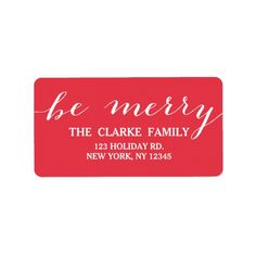Shop Handwriting Be Merry Holiday Cards, Holiday Gifts, Christmas Address Labels, Solid Color Backgrounds, Custom Address Labels, Gift Labels, How To Be Outgoing, Handwriting, Merry