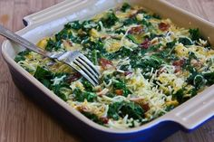 Kale, Bacon, and Cheese Breakfast Casserole Recipe - Spinach would work too!!