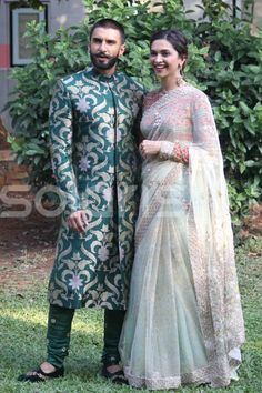 Ranveer Singh and Deepika Padukone at 'Bajirao Mastani' Promotions : Ranveer totally rocked this green Sabyasachi outfit with black eccentric shoes. As for Deepika, she looked beautiful wearing Anju Modi Couture saree with light makeup and. Deepika Ranveer, Ranveer Singh, Deepika Padukone, Indian Celebrities, Bollywood Celebrities, Bollywood Actress, Bollywood News, Bollywood Stars, Bollywood Fashion