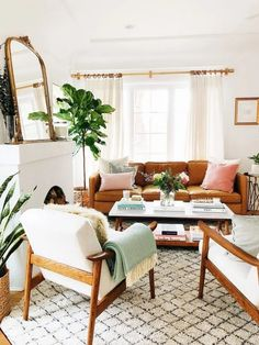 Future Home Interior Midcentury Neutral Living Room.Future Home Interior Midcentury Neutral Living Room Boho Living Room, Living Room Interior, Home And Living, Cozy Living, Midcentury Modern Living Room, Brown Leather Sofa Living Room Decor, Colorful Living Rooms, Neutral Living Rooms, Living Area