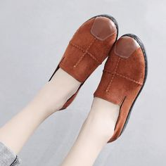 2019 Spring autumn Suede Round toe Women Shoes Comfortable Woman Flat shoes soft Leather shoes Slip on Loafer Flats Yellow And Brown, Toe Shape, Fashion Flats, Womens Flats, Comfortable Shoes, Daily Fashion, Casual Shoes, Going Out, Shoes Heels
