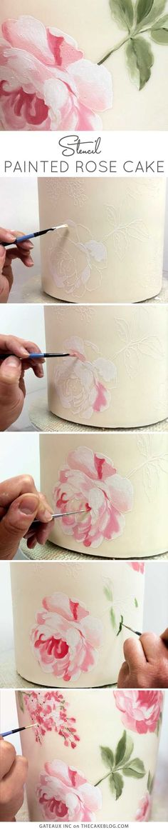 Learn how to make this gorgeous hand-painted rose cake, using cake stencils. An innovative cake decorating technique by Robin Martin of Gateaux Inc. Cake Decorating Techniques, Cake Decorating Tutorials, Cookie Decorating, Decorating Ideas, Decorating Supplies, Decorating Cakes, Beautiful Cakes, Amazing Cakes, Fondant Cakes