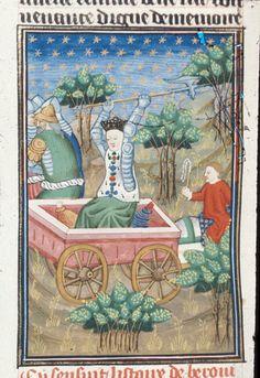 BL Royal 16 G V f.86v - Berenice avenging the death of her sons.[De claris mulieribus in an anonymous French translation (Le livre de femmes nobles et renomées) - G. Boccaccio - 1440] [http://en.wikipedia.org/wiki/De_mulieribus_claris]