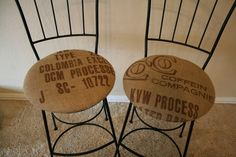 coffee sack covered bar stools - would love these in the kitchen