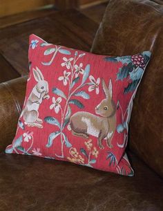a422e2fbef Rabbits Tapestry Pillow Finely woven by skilled weavers on Jacquard looms.  Made in England by