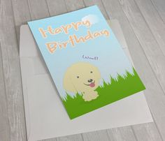 Cute birthday card for dog lovers #BirthdayCard #CuteBirthdayCard #Kawaii #PrintableBirthdayCard #Dog #GreetingCard #GoldenRetriever #DogLovers #HappyBirthday