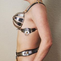 ☺ ♀CB - Side view. #chastitybra #chastitybelt #fancysteel