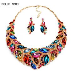 Gift For Charming Women Girls  Luxury Necklaces Earrings Jewelry Sets Short Design Colorful Crystal Statement Necklace T16