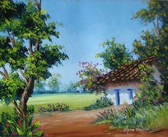 Paisaje con casa, Autora: Elena Molina, Técnica: Óleo sobre lienzo con espátula, Tamaño: 40 x 50 cm. #Arte #Colombia