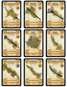 OVER 300 DOWNLOADABLE & PRINTABLE D&D CARDS! I made over 300 of these bad boys to better help new players understand equipment or simply to add a more organized way of playing. All equipment, items,...