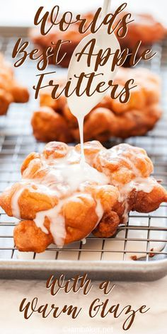 These homemade Apple Fritters are better than any bakery! Light cakey batter and apple pieces make for the perfect donut! Apple Fritters, Homemade Apple Fritters, Homemade Apple Donuts, How to Make Fritters, recipes desserts homemade Köstliche Desserts, Delicious Desserts, Desserts With Apples, Fall Recipes, Sweet Recipes, Green Apple Recipes, Recipes Dinner, Apple Fritter Recipes, Easy Apple Fritters Recipe