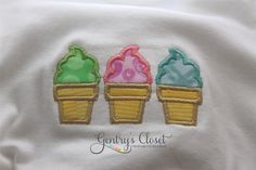 Baby Girl Shirt or Onesie - Ice Cream Cones - Applique Infant Bodysuit. Summer outfit. Add a name for FREE. $20.00, via Etsy.