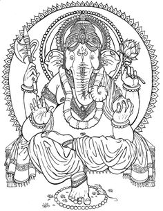 Ganesha Paintings For Coloring | lord ganesh Colouring Pages