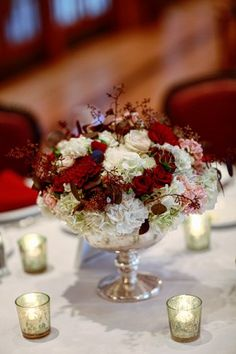 Silver bowl with roses and berries | photography by http://www.artoflove.com/