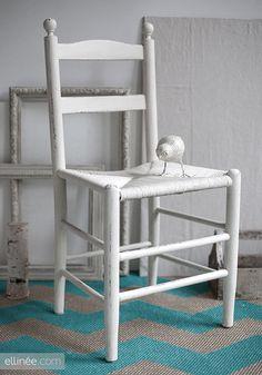 DIY Chalk Paint Furniture   Ellinée (I have this exact chair--good idea to paint it)