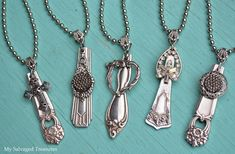 My Salvaged Treasures: silverware pendants by Betsy Silver Spoon Jewelry, Fork Jewelry, Silverware Jewelry, Jewelry Art, Beaded Jewelry, Vintage Jewelry, Jewelry Design, Silverware Art, Recycled Jewelry