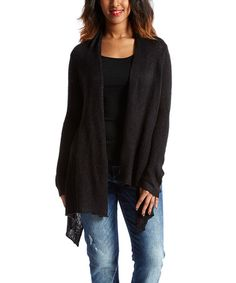 26e00dd246ef Black Crop-Back Open Cardigan by Lakhay s Collection Open Cardigan