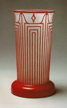 Johann Lötz Witwe, Klostermühle, Etched Glass Vase, Design by Josef Hoffmann, 1914.