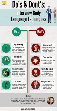 Body Language Tips for Job Interviews -- INFOGRAPHIC | CareerBliss
