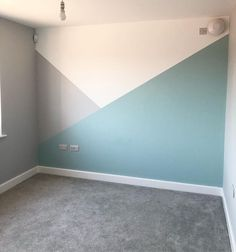 Playroom painting all finished 🙌🏻 got some furniture to move in now and fill it with all the toys that have taken over our living room! Kids Wall Decor, Baby Room Decor, Living Room Decor, Bedroom Decor, Teenage Room Decor, Nursery Room, Bedroom Ideas, Geometric Wall Paint, Bedroom Wall Designs