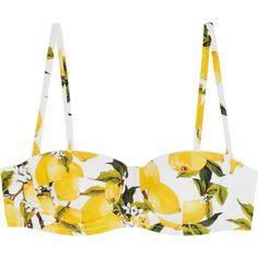 Dolce & Gabbana Printed underwired bikini top ($305) ❤ liked on Polyvore featuring swimwear, bikinis, bikini tops, yellow, high waisted bikini swimwear, underwire tankini top, high rise bikini, floral high waisted bikini and retro bikini top
