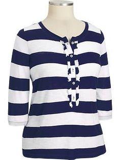 Women's Plus Ruffle-Trim Henleys | Old Navy  $22.00  Navy or Orange Stripe or Solid Green