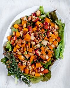 Roasted Butternut Squash-Apple Salad with Thyme Vinaigrette by @CafeJohnsonia