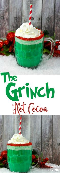 Grinch Hot Cocoa - a deliciously green and mean cup of hot cocoa. The perfect pairing to watching the new Grinch movie.The Grinch Hot Cocoa - a deliciously green and mean cup of hot cocoa. The perfect pairing to watching the new Grinch movie. Grinch Christmas Party, Christmas Cocktails, Christmas Sweets, Holiday Drinks, Christmas Cooking, Noel Christmas, Christmas Goodies, Holiday Baking, Christmas Desserts