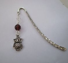 Beaded bookmark owl charm in silver purple beads vintage style