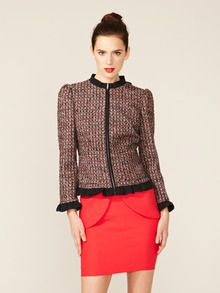 Tweed Contrast Flutter Jacket by RED Valentino at Gilt