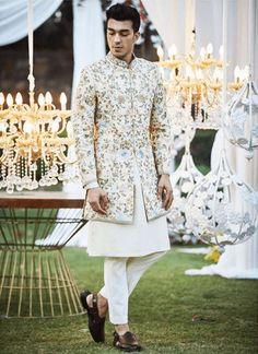 Buy Embroidered sherwani with pants & kurta by Varun Bahl - Men at Aza Fashions Engagement Dress For Groom, Wedding Outfits For Groom, Groom Wedding Dress, Engagement Dresses, Wedding Attire, Wedding Wear, Farm Wedding, Wedding Couples, Boho Wedding