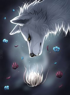Paradise by Haunthid on DeviantArt - Paradise by Haunthid on -You can find Paradise and more on our website. Anime Wolf, Female Anime, Mystical Animals, Mythical Creatures Art, Fantasy Kunst, Fantasy Art, Anime Fantasy, Wolf Artwork, Fantasy Wolf