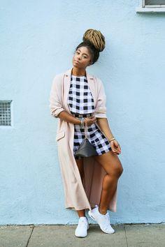 ecstasymodels:  Sneak Peek Gingham Skirt and Top set: American Apparel, Sneakers: Air Max Thea B.O.S.S.  BGKI - the #1 website to view fashionable & stylish black girls shopBGKI today