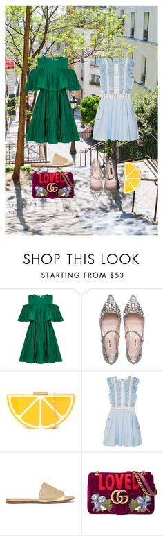 """Suggested style 😀"" by fashiondam ❤ liked on Polyvore featuring Jovonna, Miu Miu, self-portrait, Gianvito Rossi and Gucci"