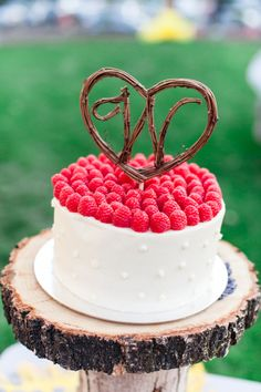 raspberry topped wedding cake